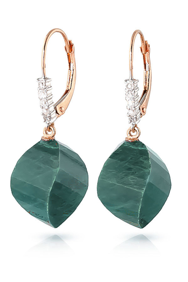 Emerald Drop Earrings 30.65 ctw in 9ct Rose Gold
