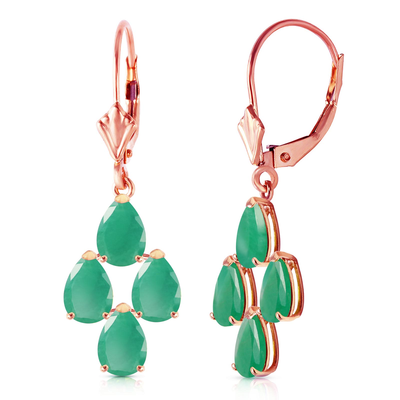 Emerald Drop Earrings 4.5 ctw in 9ct Rose Gold