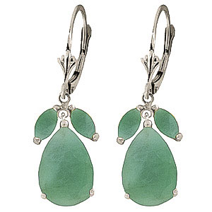 Emerald Drop Earrings 7 ctw in 9ct White Gold