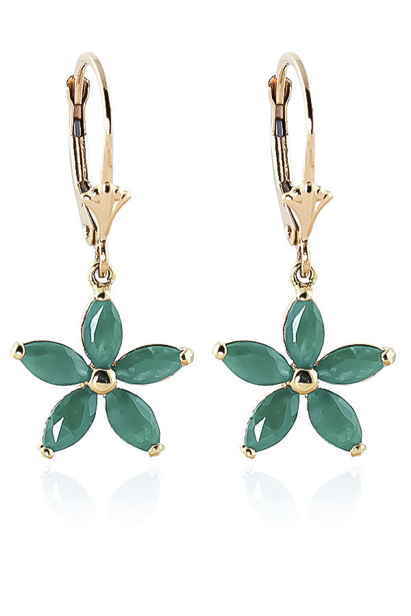 Emerald Flower Star Drop Earrings 2.8 ctw in 9ct Gold