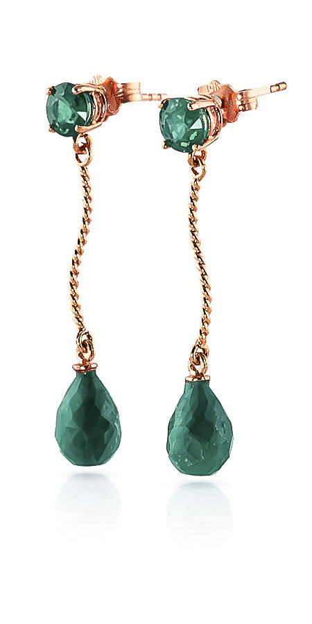 Emerald Lure Drop Earrings 7.9 ctw in 9ct Rose Gold