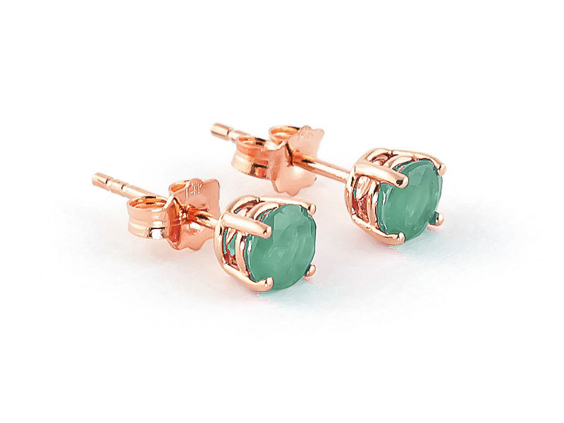 Emerald Stud Earrings 0.95 ctw in 9ct Rose Gold