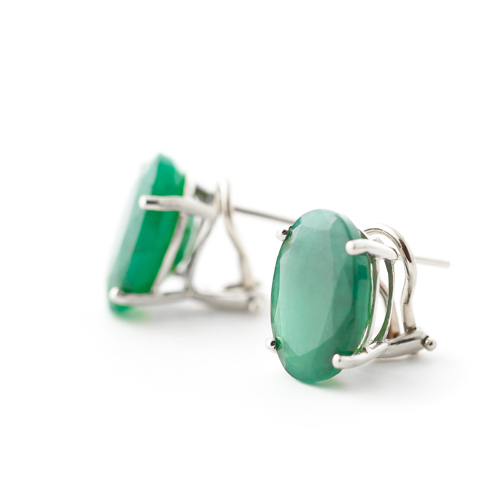Emerald Stud Earrings 13 ctw in 9ct White Gold