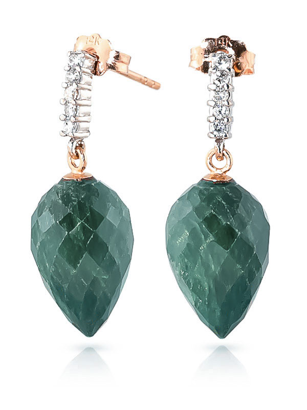 Emerald Stud Earrings 25.95 ctw in 9ct Rose Gold
