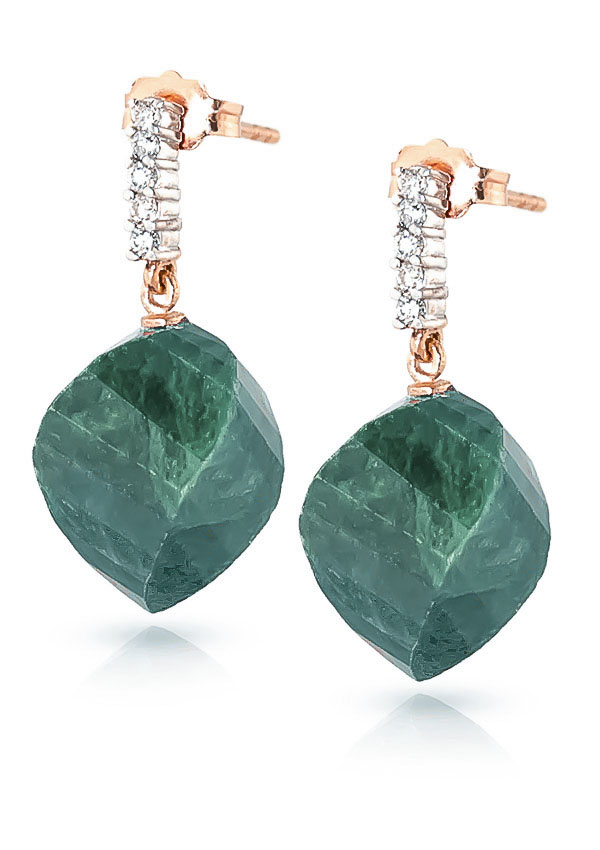 Emerald Stud Earrings 30.65 ctw in 9ct Rose Gold