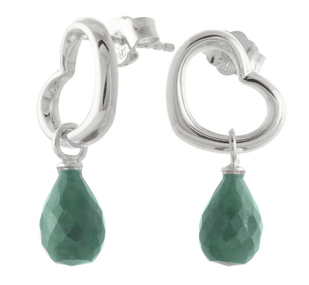 Emerald Stud Earrings 6.6 ctw in 9ct White Gold