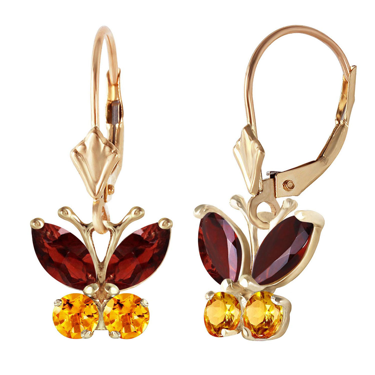 Garnet & Citrine Butterfly Drop Earrings in 9ct Gold