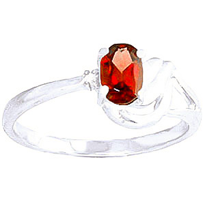 Garnet & Diamond Angel Ring in 9ct White Gold