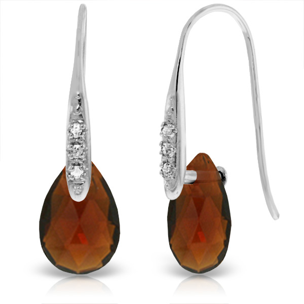 Garnet & Diamond Drop Earrings in 9ct White Gold