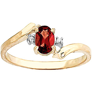 Garnet & Diamond Embrace Ring in 9ct Gold