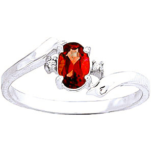 Garnet & Diamond Embrace Ring in 18ct White Gold