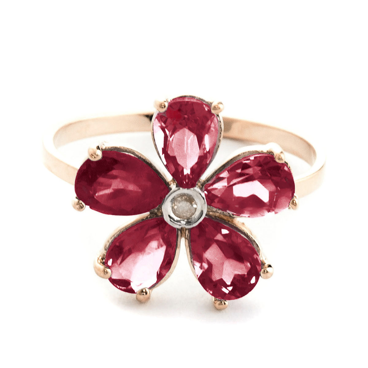 Garnet & Diamond Five Petal Ring in 9ct Rose Gold