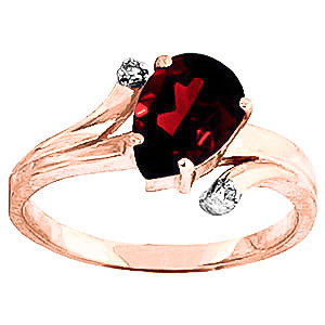 Garnet & Diamond Flank Ring in 18ct Rose Gold