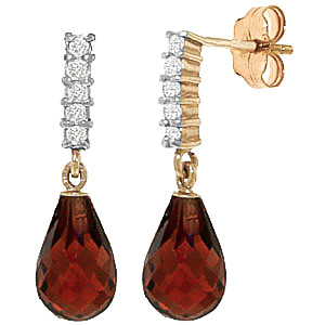 Garnet & Diamond Stem Droplet Earrings in 9ct Gold