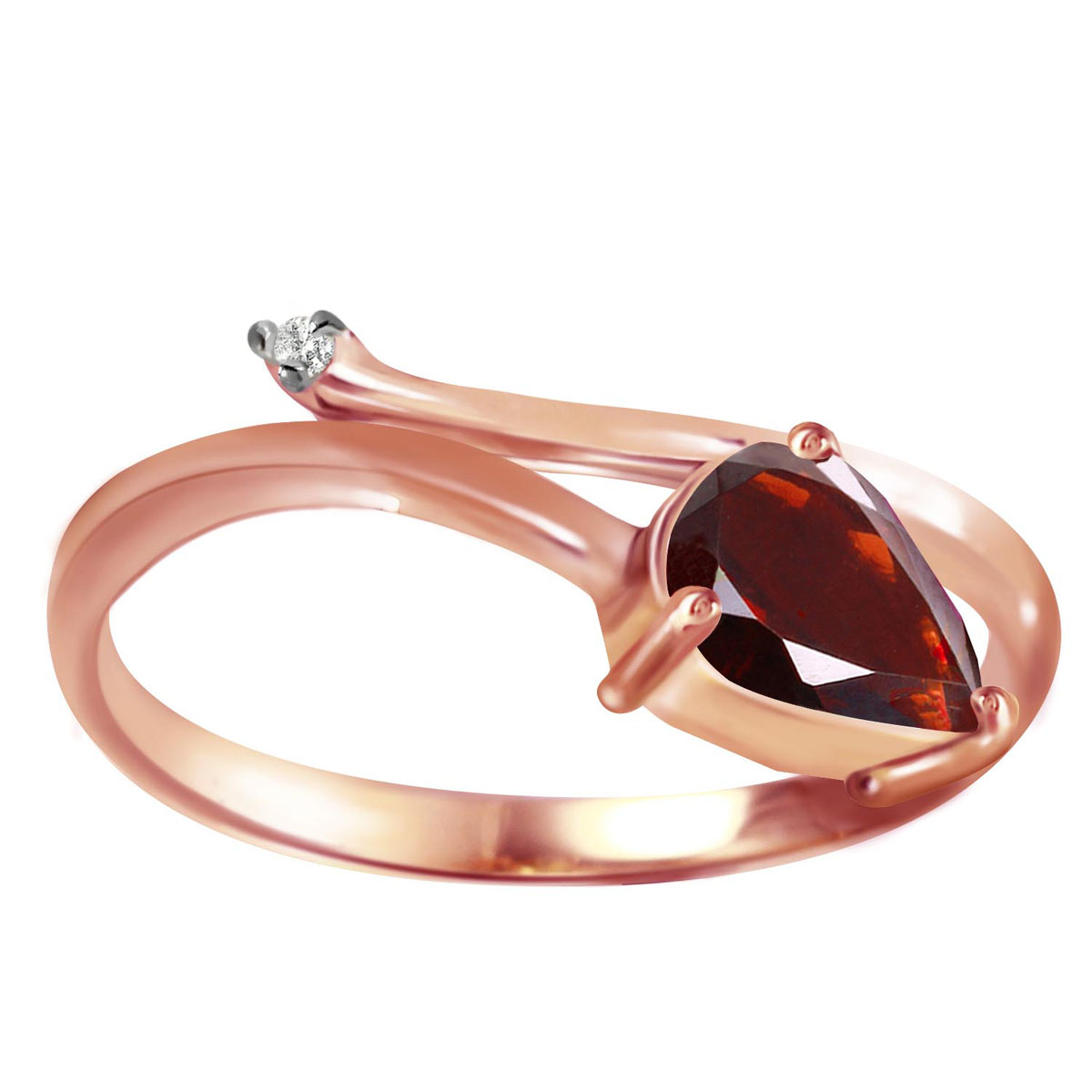 Garnet & Diamond Top & Tail Ring in 18ct Rose Gold