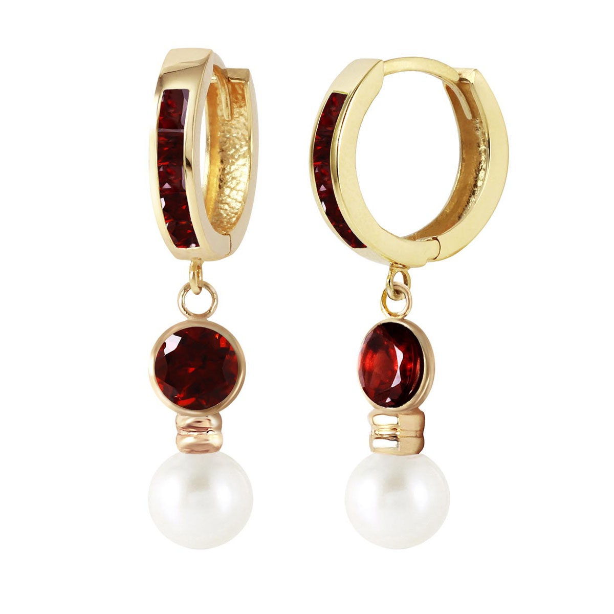 Garnet & Pearl Huggie Earrings in 9ct Gold