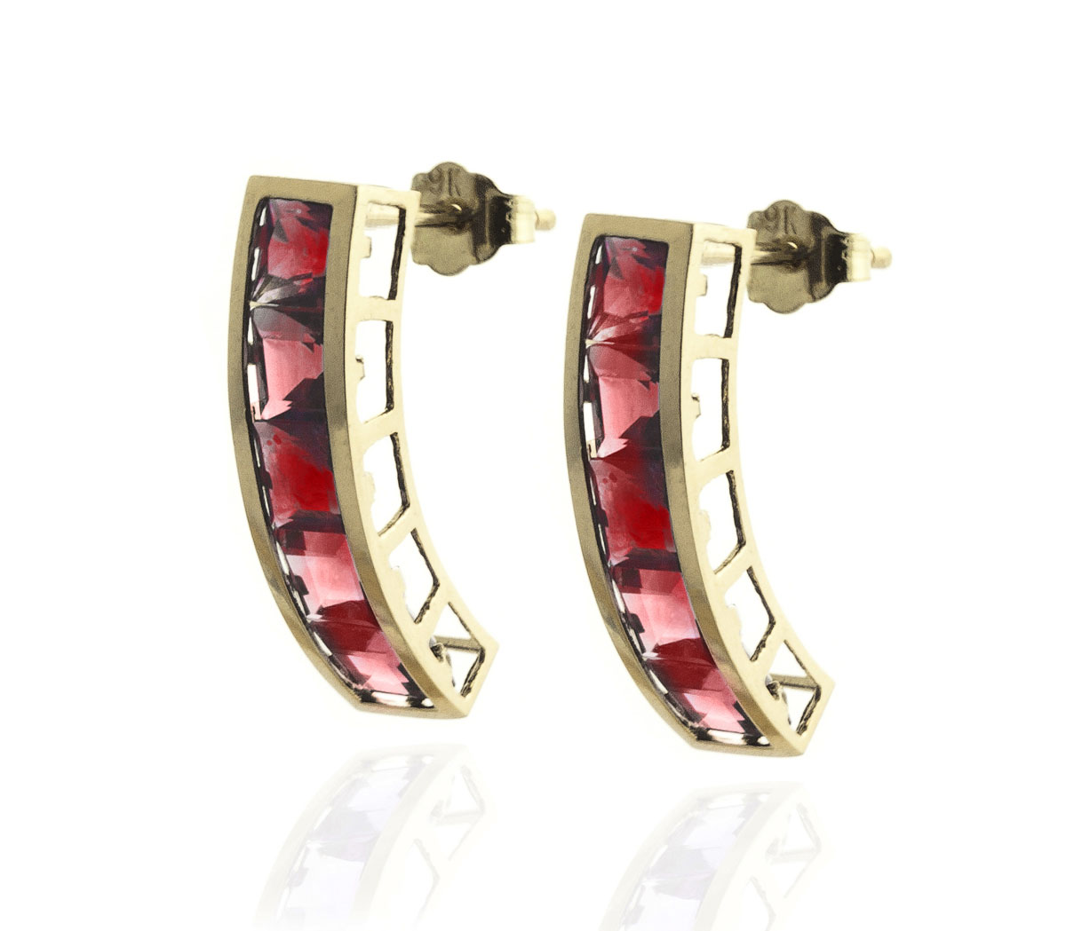 Garnet Channel Set Stud Earrings 4.5 ctw in 9ct Gold