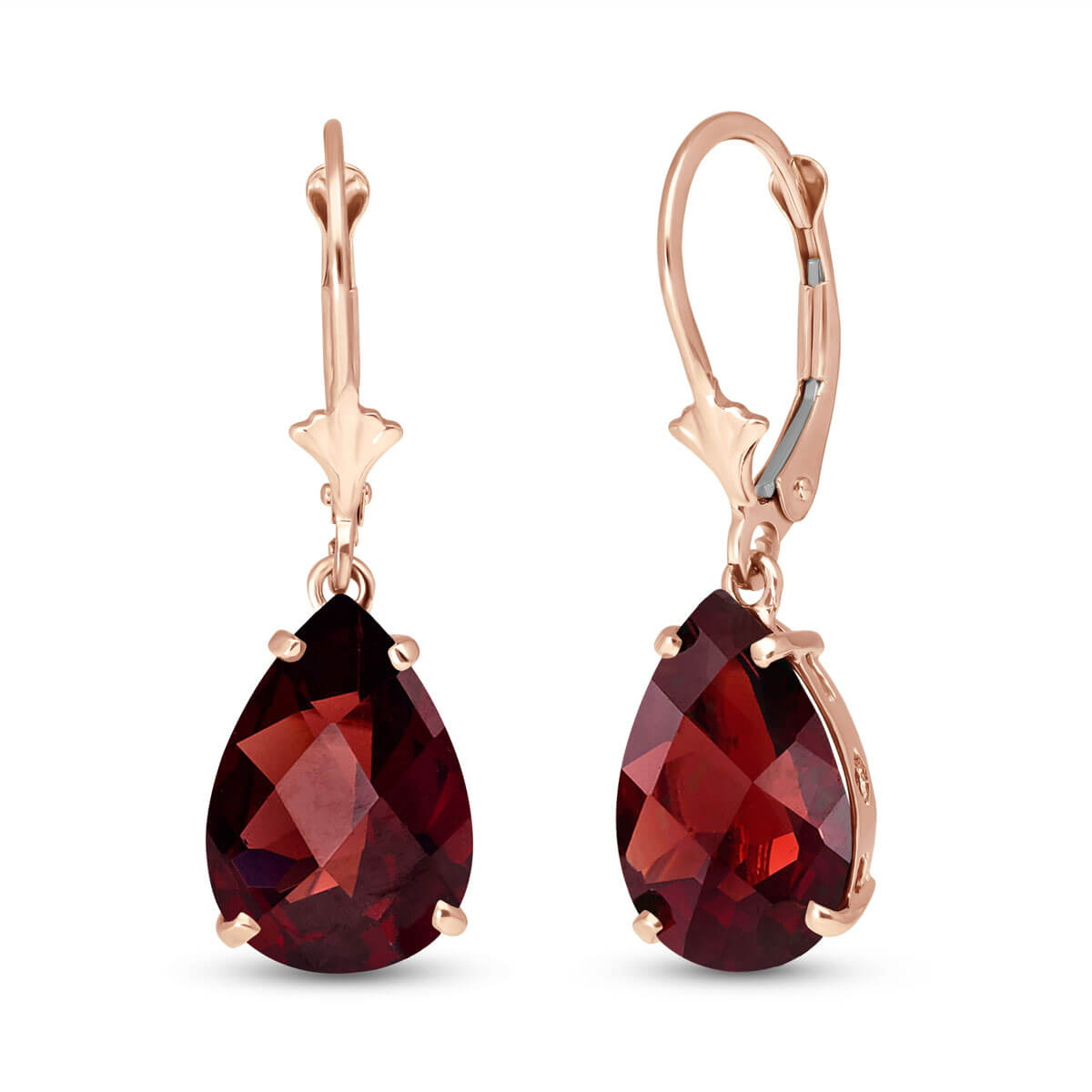 Garnet Drop Earrings 10 ctw in 9ct Rose Gold
