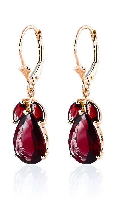 Garnet Drop Earrings 13 ctw in 9ct Rose Gold
