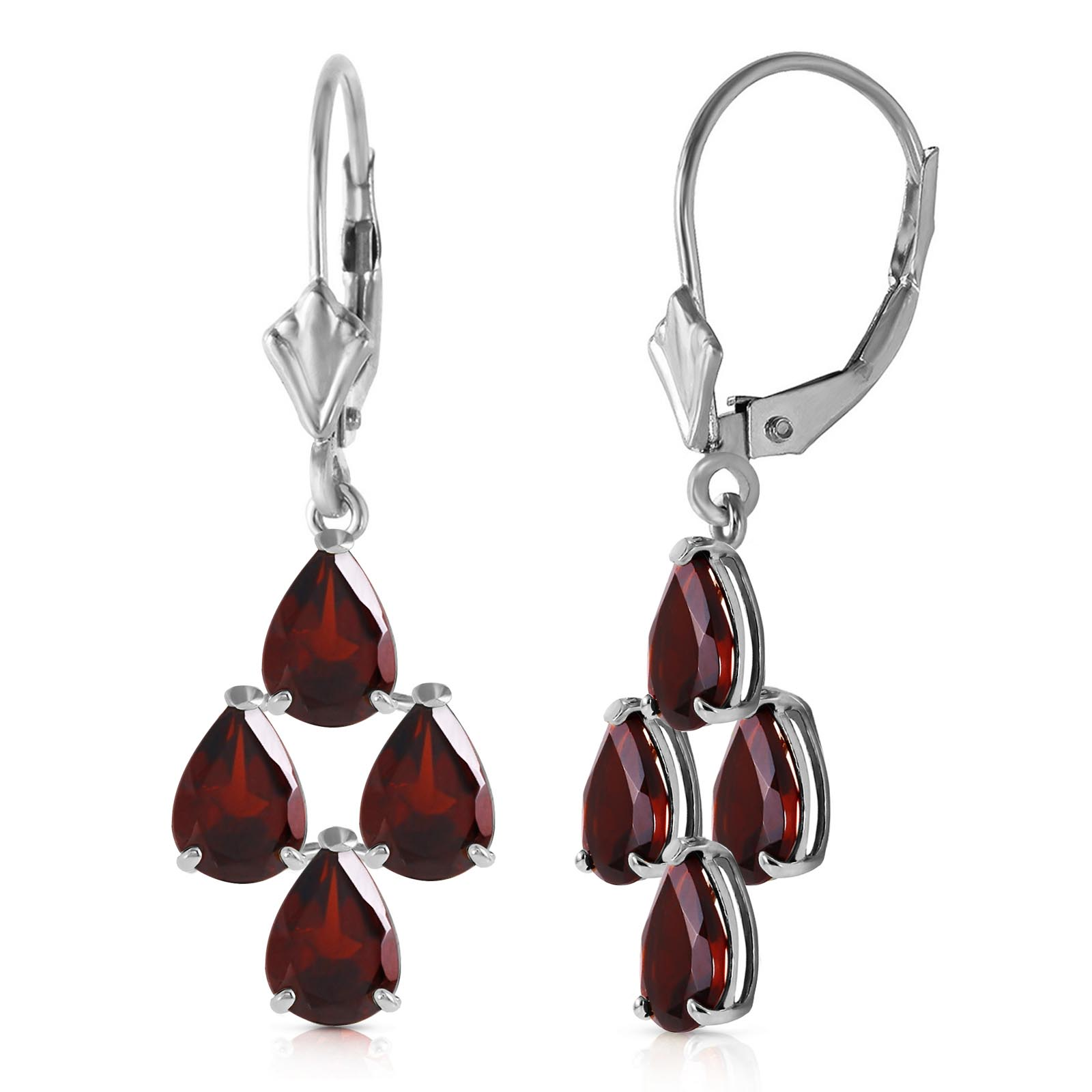 Garnet Drop Earrings 4.5 ctw in 9ct White Gold