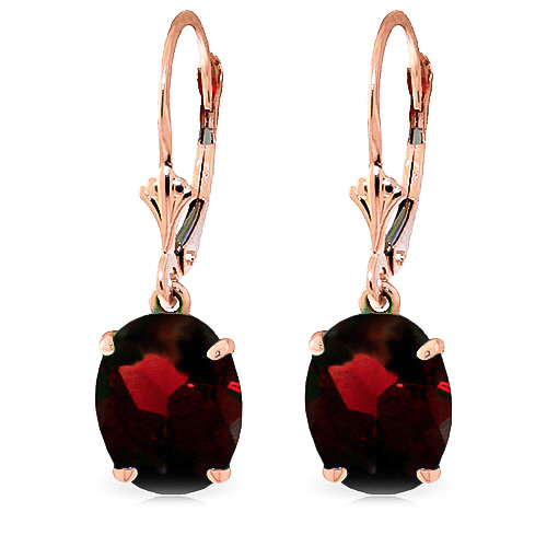 Garnet Drop Earrings 6.25 ctw in 9ct Rose Gold