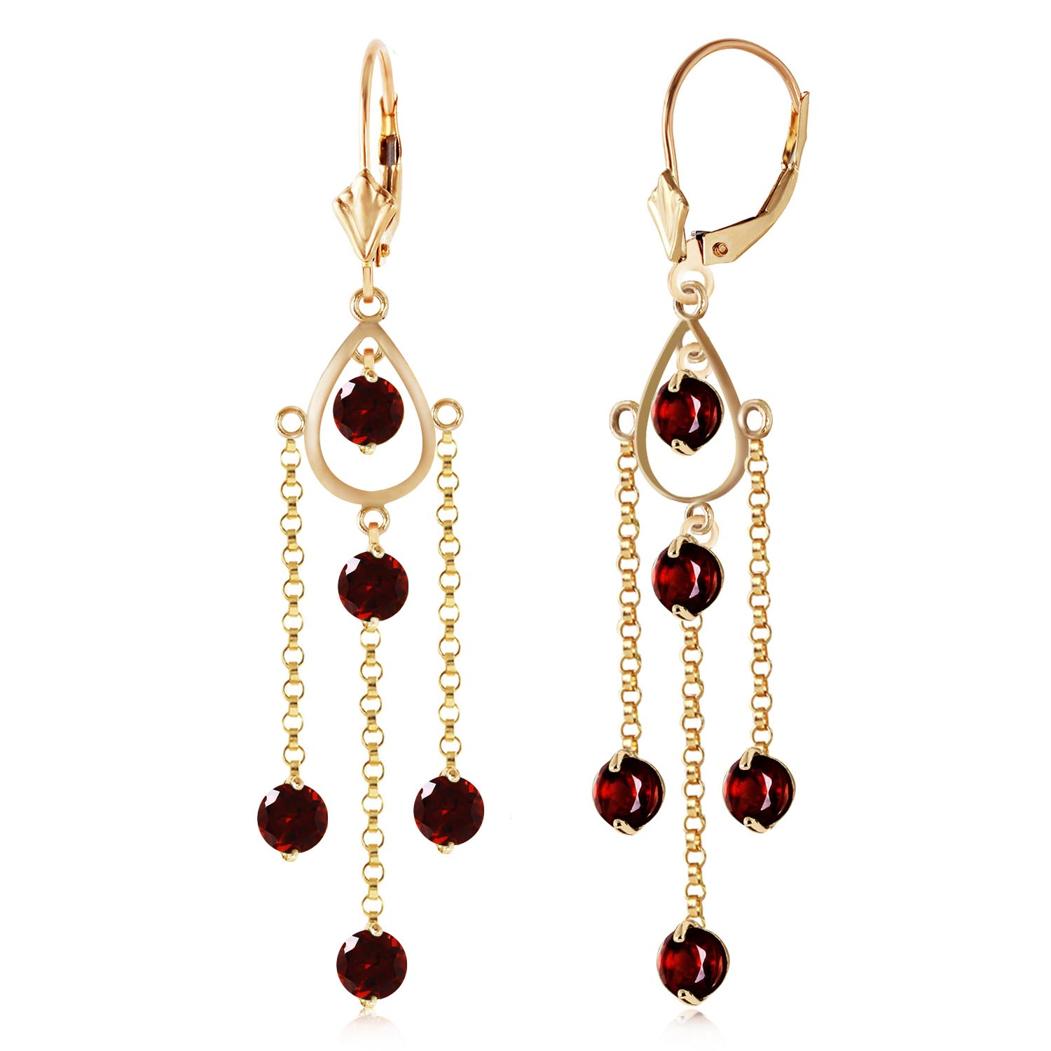 Garnet Faro Drop Earrings 3 ctw in 9ct Gold