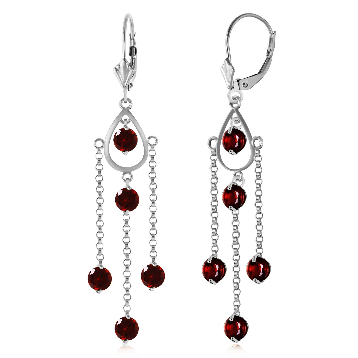Garnet Faro Drop Earrings 3 ctw in 9ct White Gold