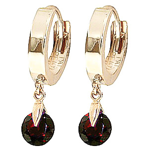 Garnet Huggie Drop Earrings 2 ctw in 9ct Gold
