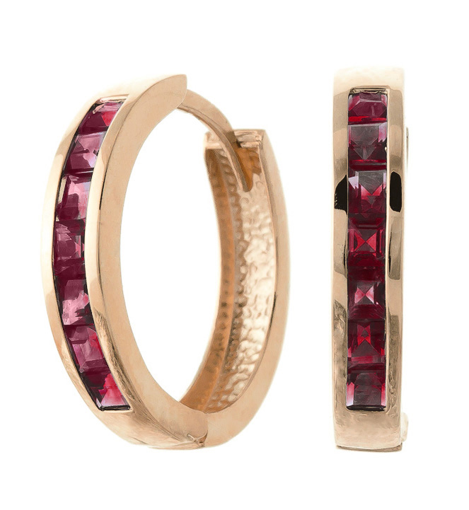 Garnet Huggie Earrings 1.85 ctw in 9ct Rose Gold