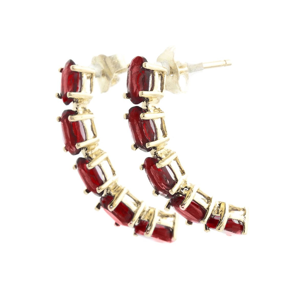 Garnet Linear Stud Earrings 2.5 ctw in 9ct Gold
