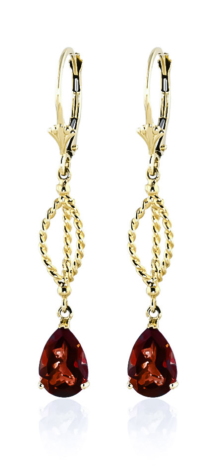 Garnet Sceptre Drop Earrings 3 ctw in 9ct Gold