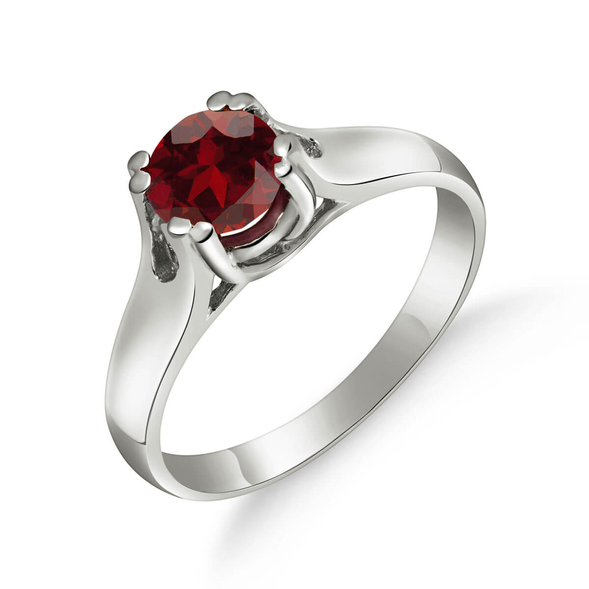 Garnet Solitaire Ring 1.1 ct in 9ct White Gold