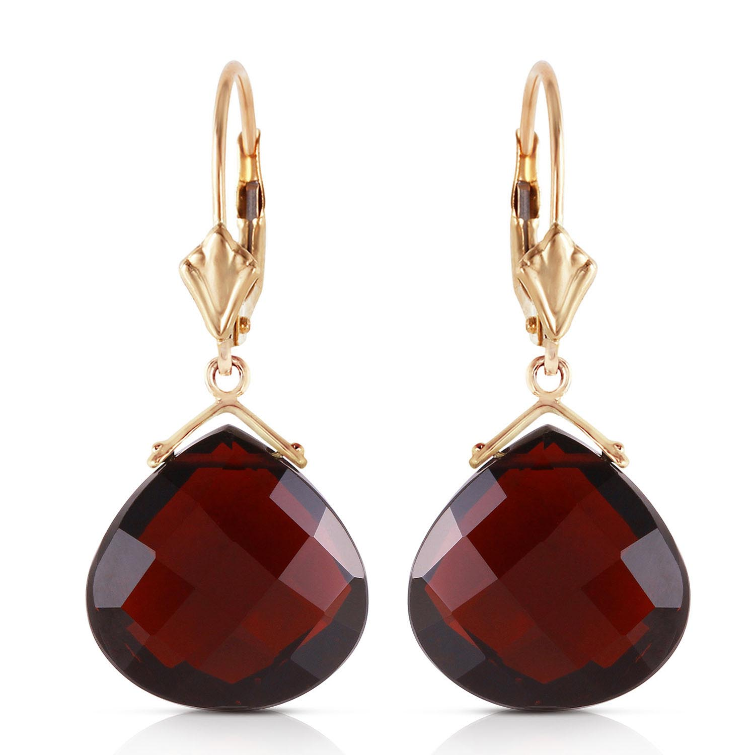 Garnet Star Drop Earrings 17 ctw in 9ct Rose Gold