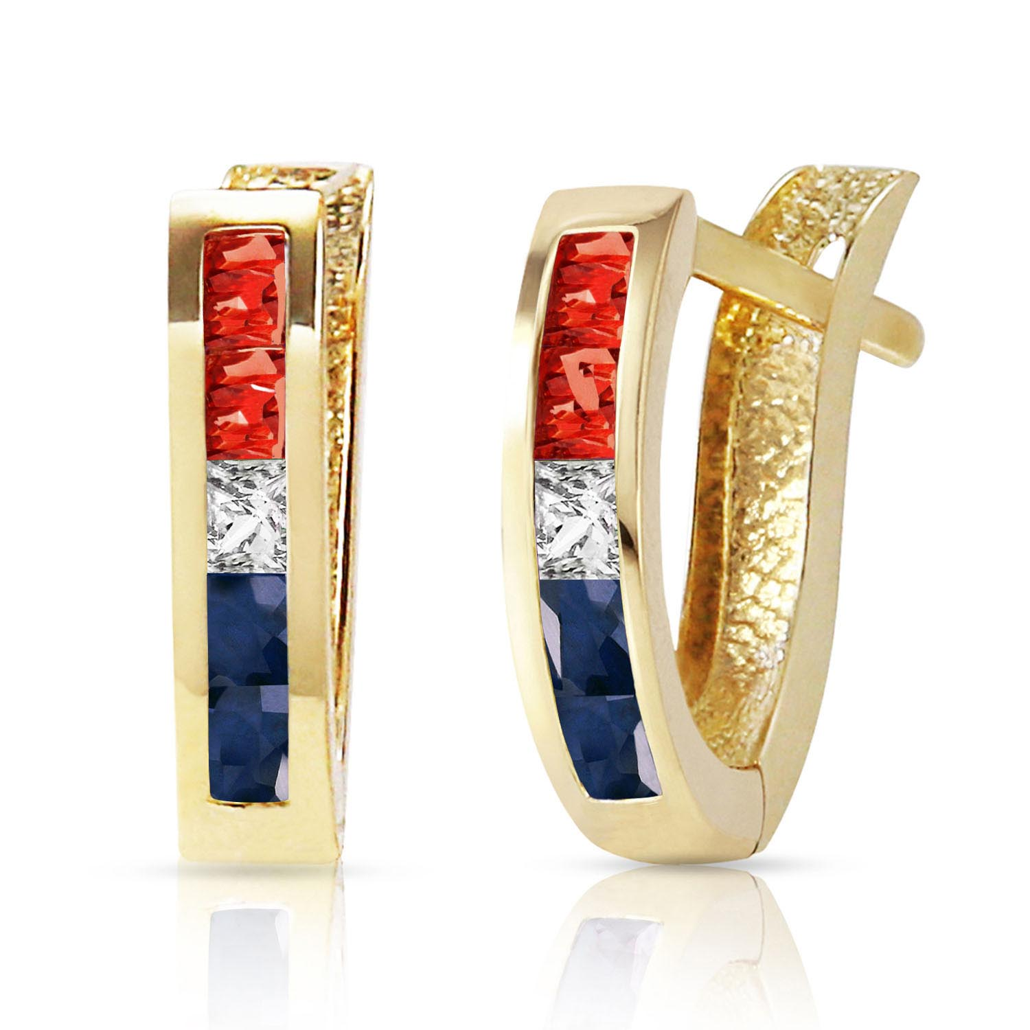 Gemstone Acute Huggie Earrings 1.28 ctw in 9ct Gold
