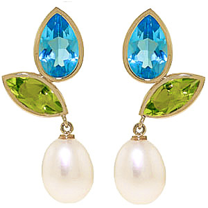 Gemstone Petal Drop Earrings 16.6 ctw in 9ct Gold