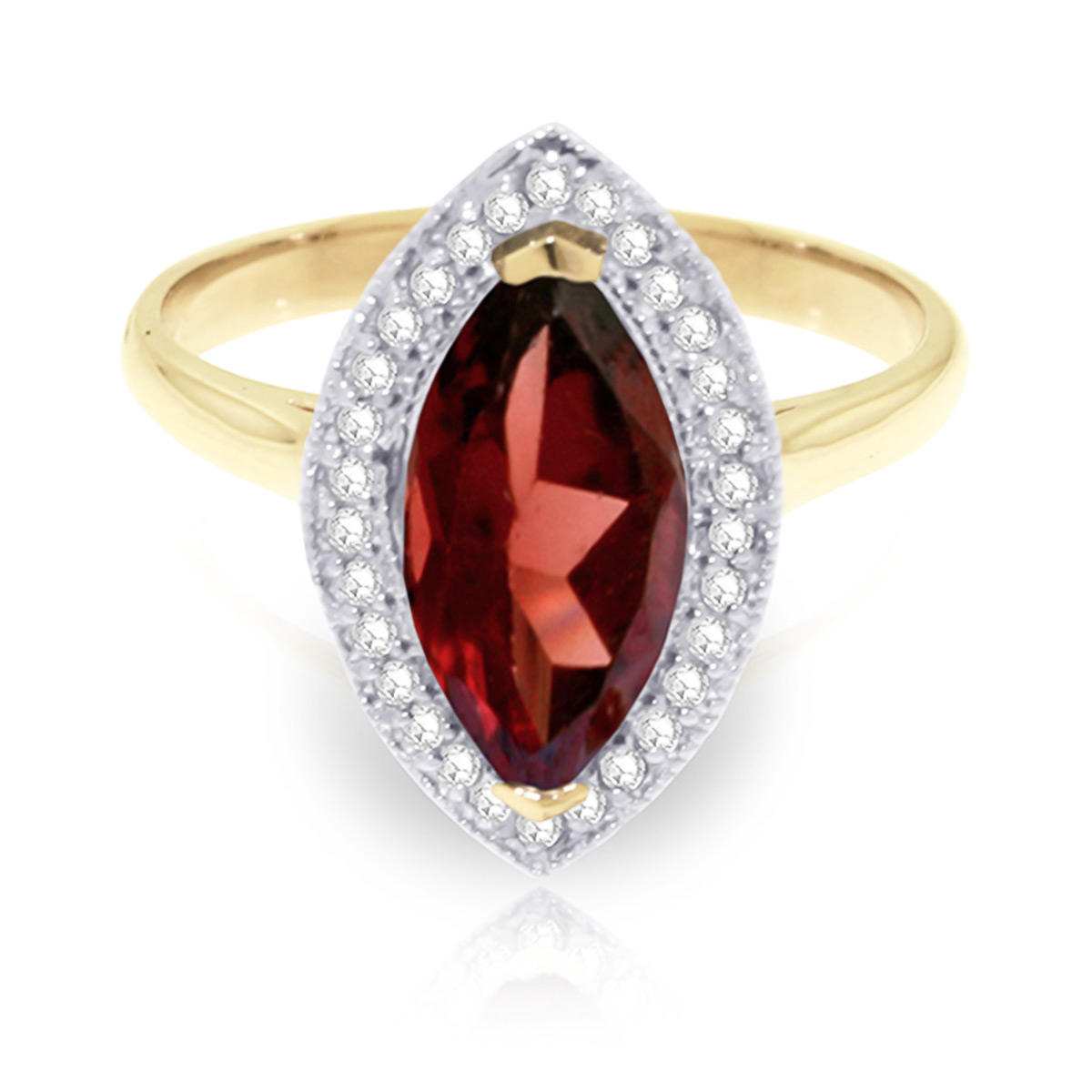 Garnet and Diamond Halo Ring 2.0ct in 9ct Gold
