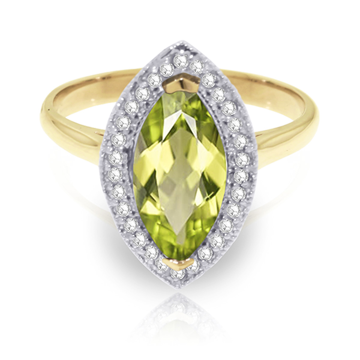 Peridot and Diamond Halo Ring 2.0ct in 9ct Gold