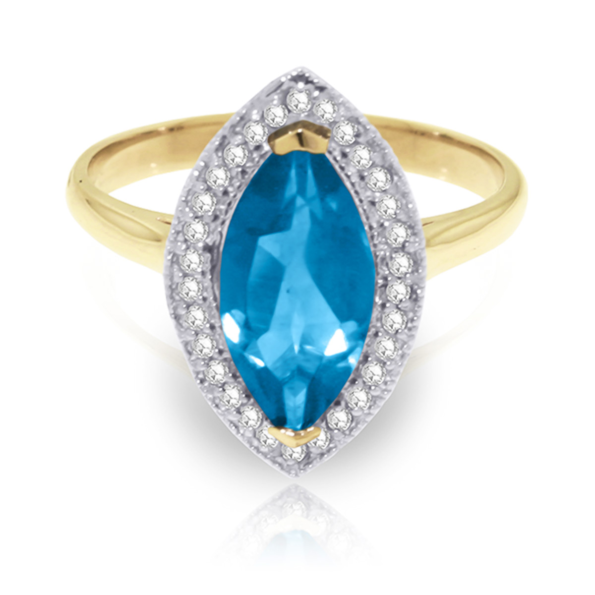 Blue Topaz and Diamond Halo Ring 2.25ct in 9ct Gold