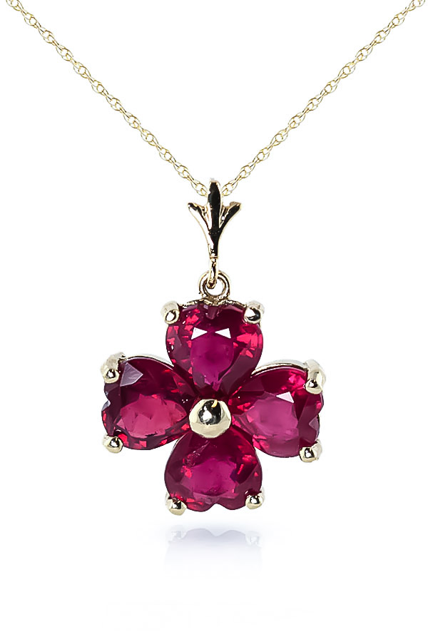Ruby Four Leaf Clover Heart Pendant Necklace 3.6ctw in 9ct Gold