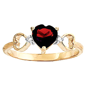 Garnet and Diamond Trinity Ring 0.9ct in 9ct Gold