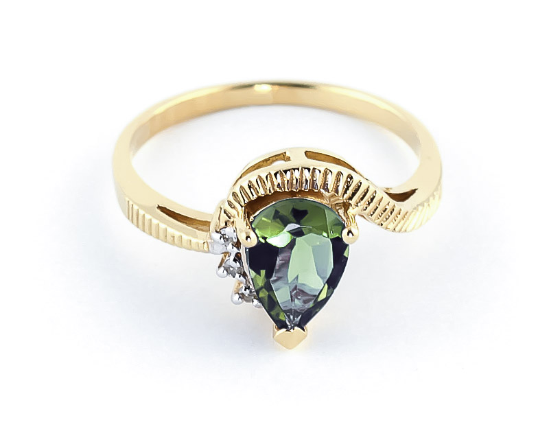 Green Amethyst & Diamond Belle Ring in 9ct Gold