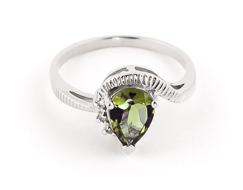 Green Amethyst & Diamond Belle Ring in Sterling Silver