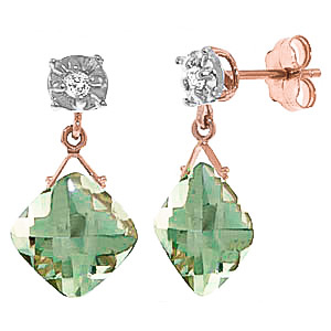 Green Amethyst & Diamond Deflection Stud Earrings in 9ct Rose Gold