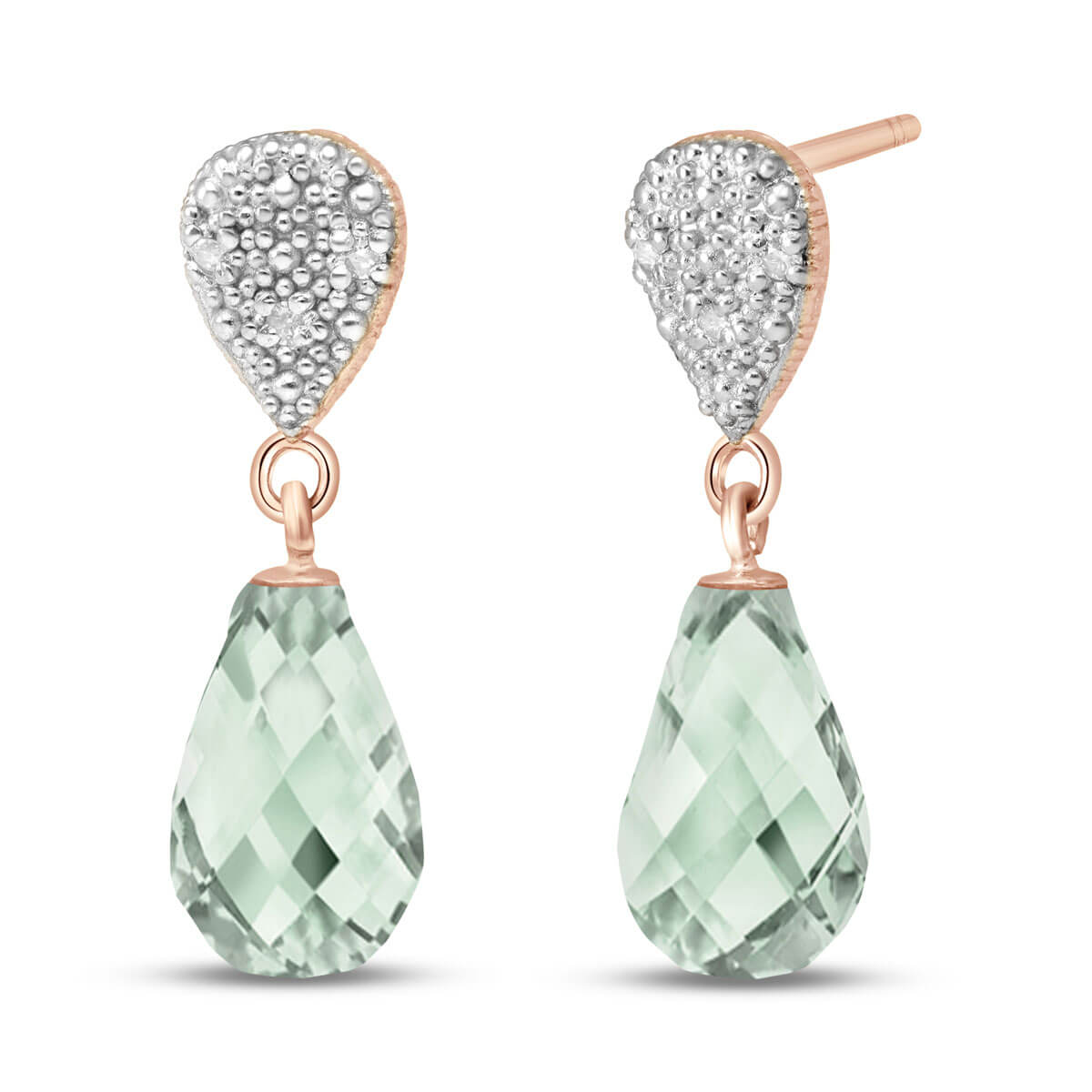 Green Amethyst & Diamond Droplet Earrings in 9ct Rose Gold