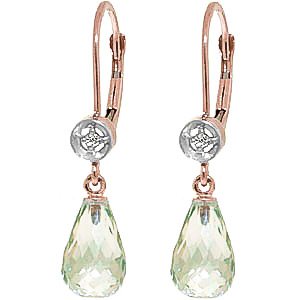 Green Amethyst & Diamond Illusion Drop Earrings in 9ct Rose Gold