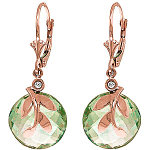Green Amethyst & Diamond Olive Leaf Drop Earrings in 9ct Rose Gold