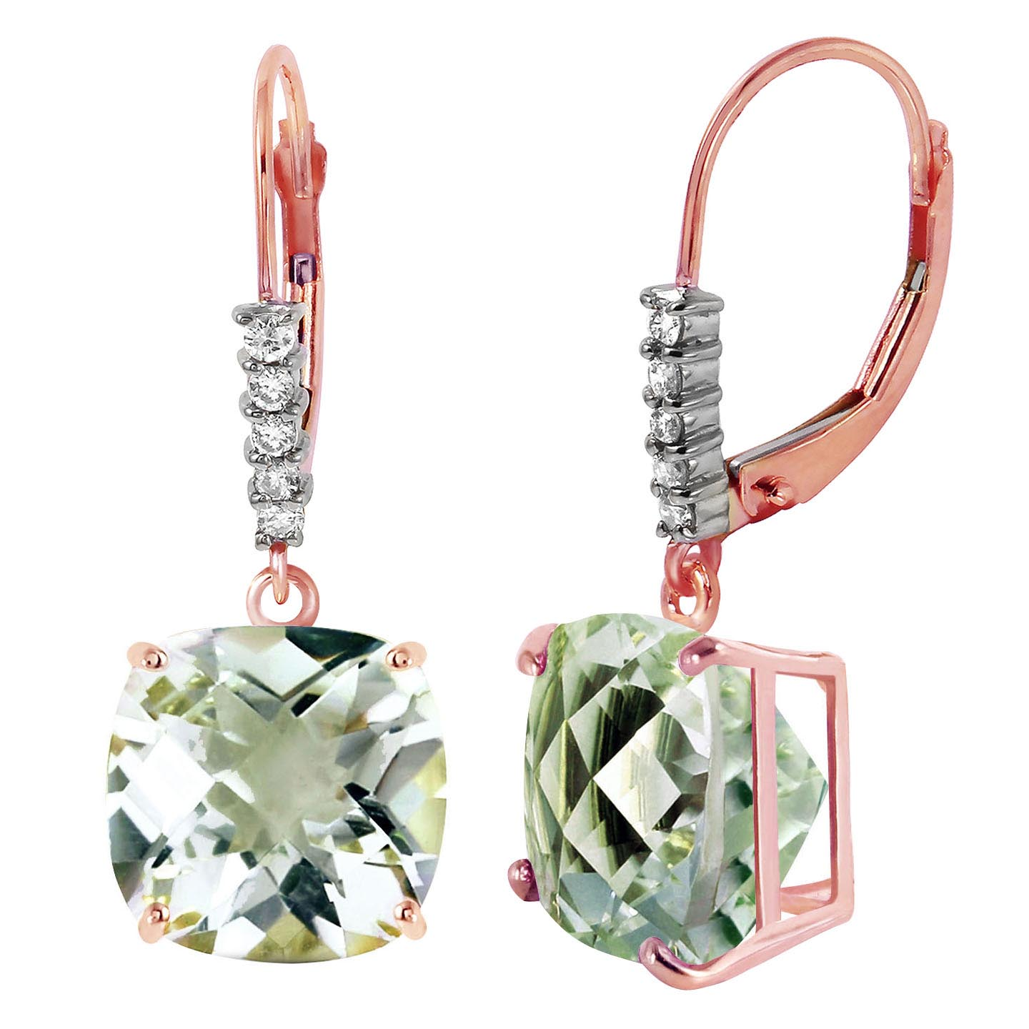 Green Amethyst & Diamond Rococo Drop Earrings in 9ct Rose Gold