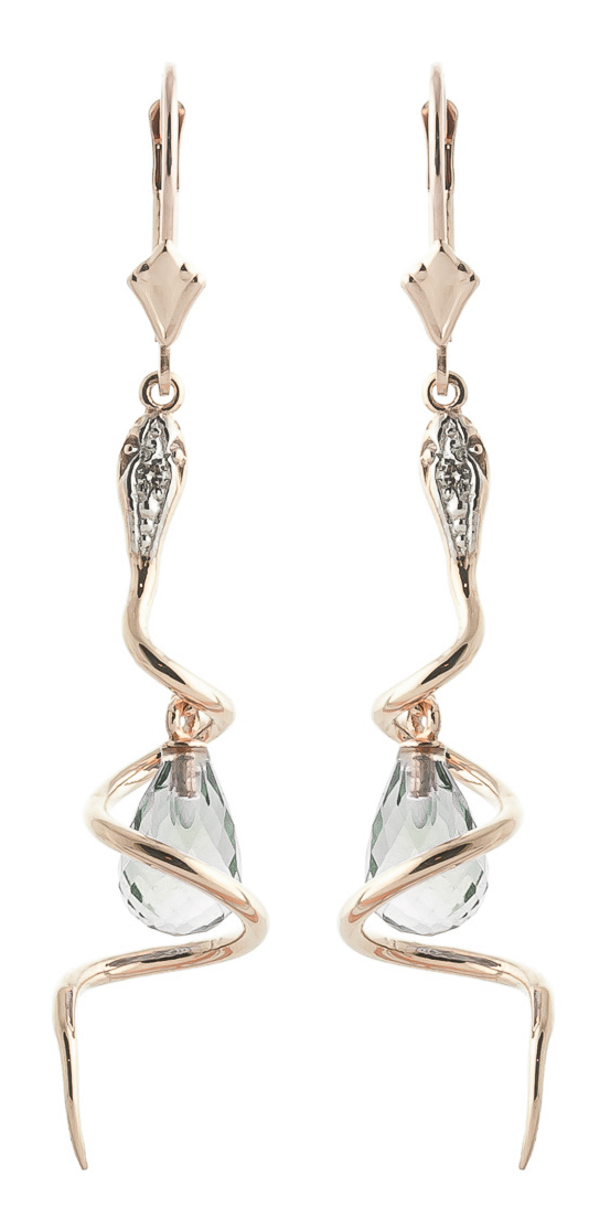 Green Amethyst & Diamond Serpent Earrings in 9ct Rose Gold