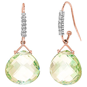Green Amethyst & Diamond Stem Drop Earrings in 9ct Rose Gold