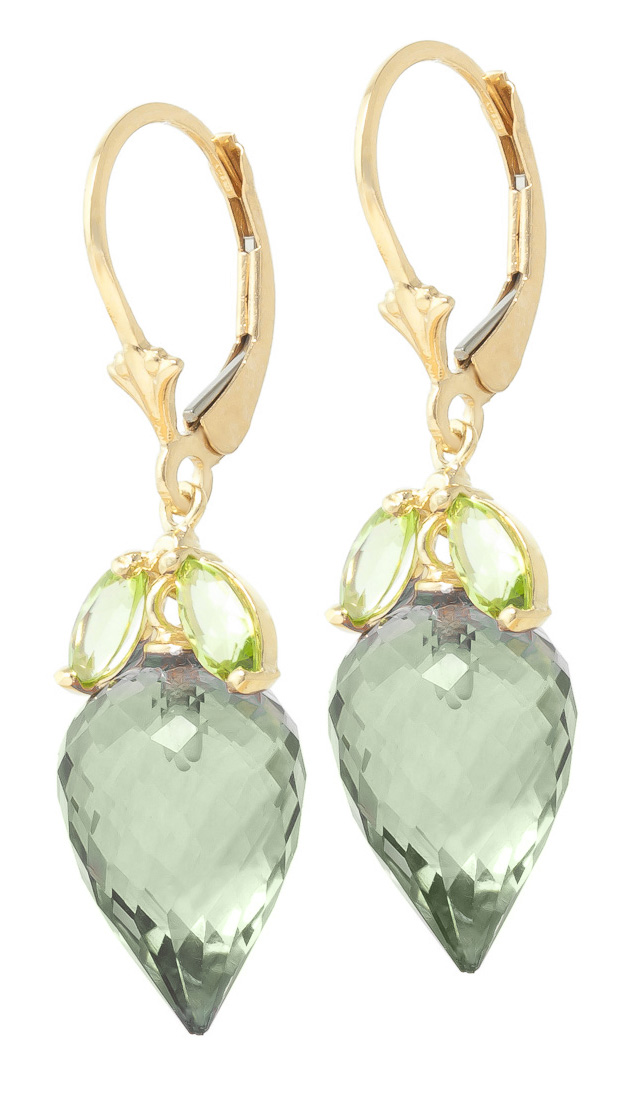 Green Amethyst & Peridot Drop Earrings in 9ct Gold